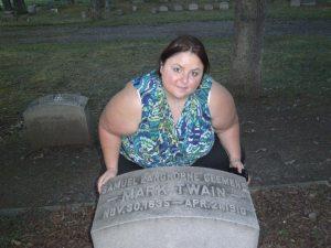 Michele at Mark Twain's Grave